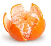 Peeled tangerine or mandarin fruit isolated. On white background with clipping path royalty free stock photo