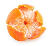 Peeled tangerine or mandarin fruit isolated. On white background with clipping path stock photo