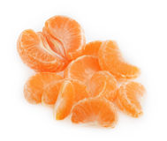 Peeled tangerine or mandarin fruit  on white background Stock Images