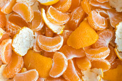 Peeled Tangerine With Skins Background Stock Images
