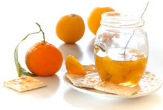 Peeled tangerine slices on a cookie Royalty Free Stock Image