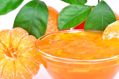 Peeled tangerine and tangerine jam Royalty Free Stock Photo