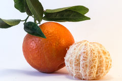 Peeled Tangerine and Tangerine Stock Photography