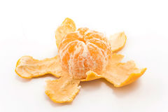 Peeled tangerine on a white background Royalty Free Stock Photos