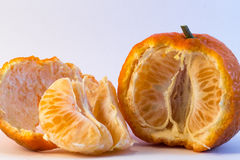 Peeled tangerine. On white background. Ideal for layout Stock Image