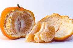 Peeled tangerine. On white background. Ideal for layout Royalty Free Stock Photos