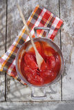 Peeled tomatoes. Preparation of a pan sauce of San Marzano peeled tomato quality Royalty Free Stock Images