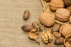Peeled walnut detail with unfocused background. Variety of healthy nuts on rustic background Stock Images