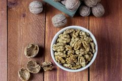 Peeled walnut Royalty Free Stock Images