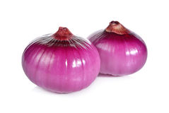 Peeled whole red onion, shallots on white Royalty Free Stock Images