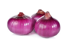 Peeled whole red onion, shallots on white Royalty Free Stock Image