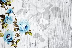 Peeled wooden texture with shabby chic vintage roses Royalty Free Stock Images