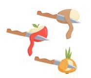 Peelgrönsaker och frukt vektor illustrationer
