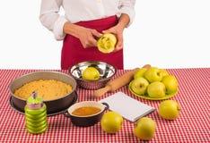 Peeling apples Royalty Free Stock Photography
