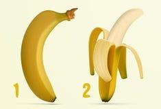 Peeling banana peels Stock Photo