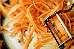 Peeling Carrots Royalty Free Stock Photos