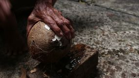 Peeling Coconut With Knife stock footage