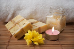 Peeling Cream, Flower, Candle and Natural Soap Stock Images