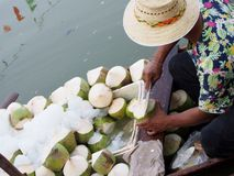 Peeling Fresh Coconut. Royalty Free Stock Images