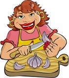 Peeling Garlic. Cartoon artwork line-art royalty free illustration