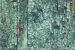 Peeling green paint on wood Stock Images