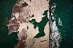 Peeling green painted wall royalty free stock photography
