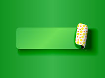 Peeling label green on green. Cute peeling off label or sticker,green on green tones with fun yellow and orange polka dots backing and shadows, ready for your Royalty Free Stock Photos