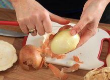 Peeling an Onion Stock Photography