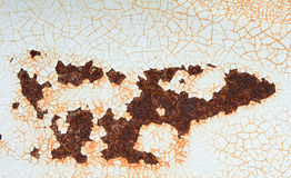 Peeling paint. Peeling and cracked paint on a rusty surface Stock Photo
