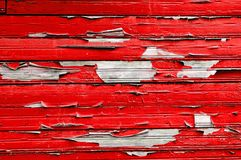 Peeling paint on old weathered wood - textured background Royalty Free Stock Photography
