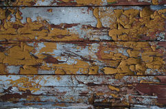 Peeling paint on old wood wall Stock Photo
