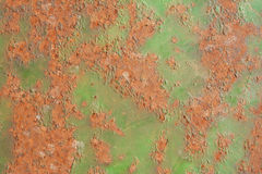 Peeling paint and patches of rust on a metal sheet Royalty Free Stock Photo