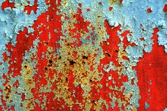 Peeling paint on rusty metal Stock Photo