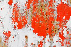 Peeling paint on rusty metal plate Stock Images