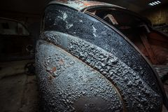 Peeling paint on a vintage car - close-up stock images
