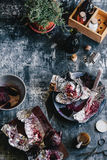 Peeling Roasted Beets Royalty Free Stock Photography