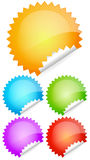 Peeling shiny rounded  stickers, labels, badges Stock Photo