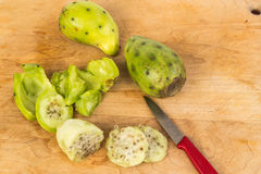 Peeling and Slicing Cactus Pears Stock Photography