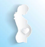 Pregnant Woman Sticker. Peeling sticker of pregnant woman on blue background Stock Photos