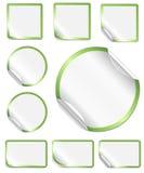 Peeling Stickers Green Border Stock Photos