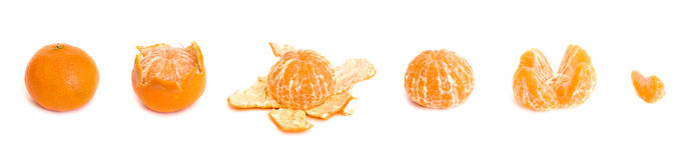 Peeling of a tangerine Stock Image