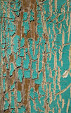 Peeling Turquoise Paint. A view of an exterior windowframe covered with cracked or crackled turquoise paint that has been weathered by the sun royalty free stock photos