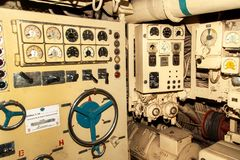 PEENEMUENDE, GERMANY - September 21, 2017: Conventionally powered submarine U-461 of the former Baltic Soviet Navy belongs to clas Royalty Free Stock Image