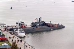 PEENEMUENDE TYSKLAND - September 21, 2017: Den konventionellt drev ubåten U-461 av den tidigare baltiska sovjetiska marinen tillh Royaltyfria Foton