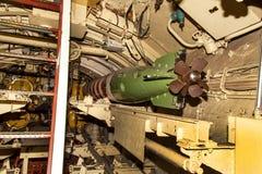 PEENEMUENDE TYSKLAND - September 21, 2017: Den konventionellt drev ubåten U-461 av den tidigare baltiska sovjetiska marinen tillh Arkivbild