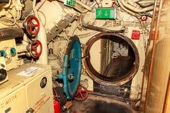 PEENEMUENDE TYSKLAND - September 21, 2017: Den konventionellt drev ubåten U-461 av den tidigare baltiska sovjetiska marinen tillh Arkivfoton
