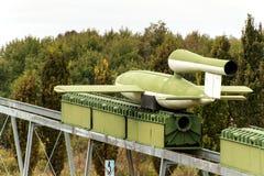 PEENEMUENDE TYSKLAND - September 21, 2017: Territorium av arméforskningscentret WW-II framkallade raket V-1 och V-2 Sikt av Royaltyfria Foton