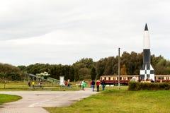 PEENEMUENDE TYSKLAND - September 21, 2017: Territorium av arméforskningscentret WW-II framkallade raket V-1 och V-2 Sikt av Arkivbild