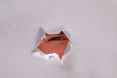 Peep hole. Closeup of an eye looking thru a torn hole Royalty Free Stock Image