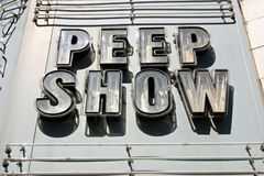 Peep Show Sign. An unlit neon sign that reads Peep Show in Montreal, Quebec Stock Photos